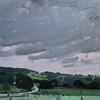Acrylic painting Pre Rain, Tommy's Hill, Reserved for Rogerio by Harry Stooshinoff