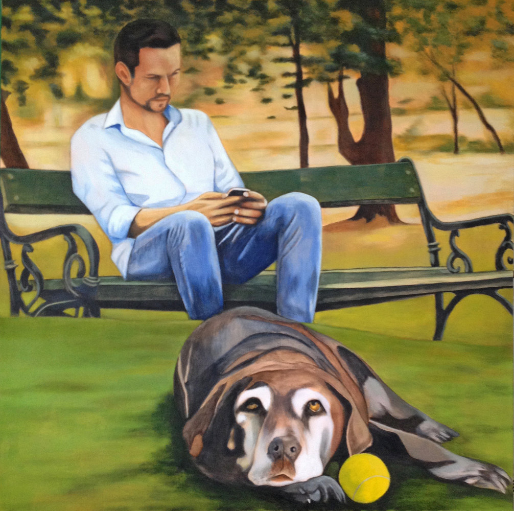 Acrylic painting Old Dogs Don't Learn New Stuff by Rick Gillis