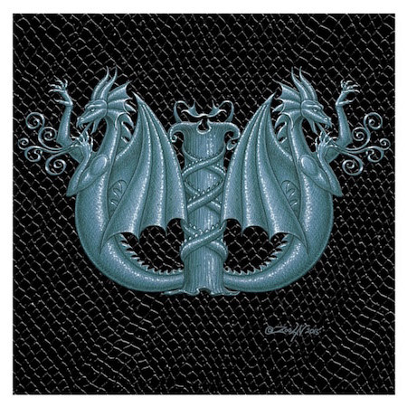 "Print Dragon W-2, Silver 4x4""  by Sue Ellen Brown"