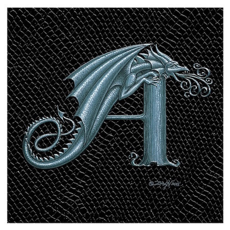 "Print Dragon A, Silver 4x4""  by Sue Ellen Brown"