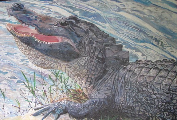 Painting American Alligator by Nancy Sharp