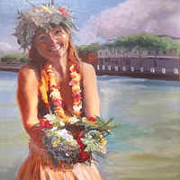 Oil painting Welcome to Lahaina, Aloha! by Pamela Neswald