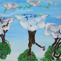 Acrylic painting Forest in the Sky by Jasmine Calix