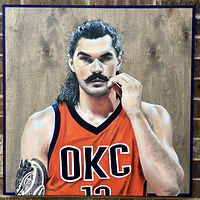 Acrylic painting The Big Kiwi (Steven Adams  by Stuart  Sampson