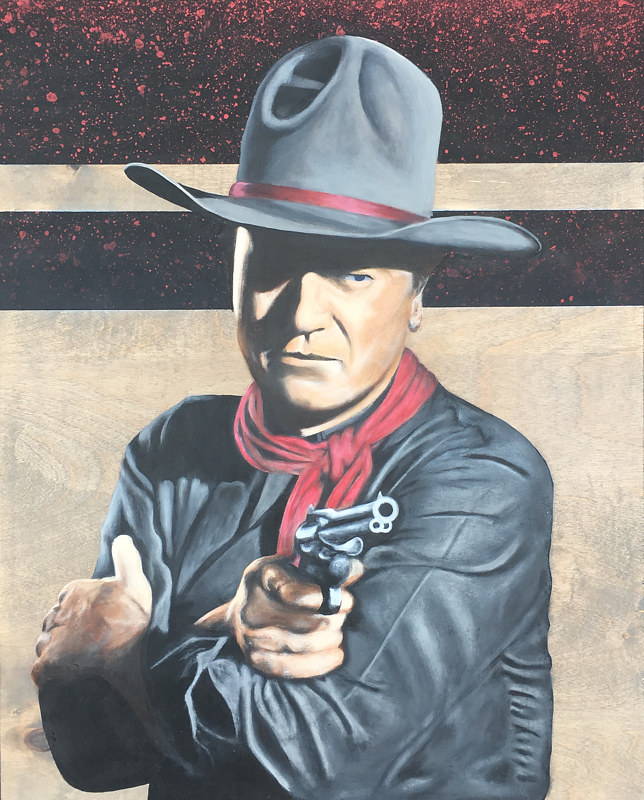 Acrylic painting Stick Em Up (John Wayne)  by Stuart  Sampson