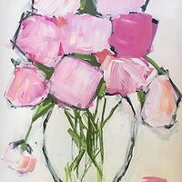 Acrylic painting Flower Study IV: Peonies by Sarah Trundle