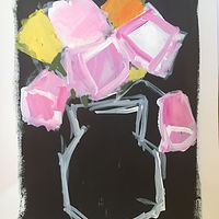 Acrylic painting Pink Blooms by Sarah Trundle
