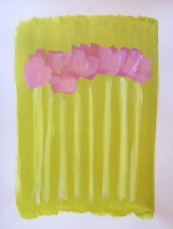 Acrylic painting Tulips on Green II by Sarah Trundle