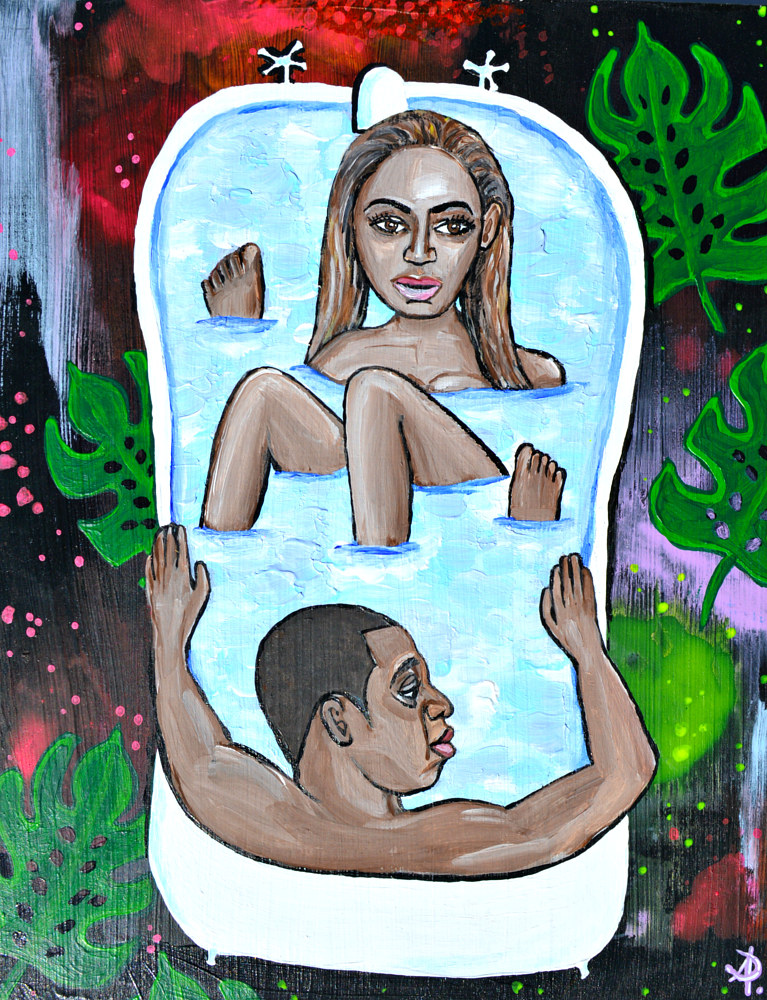 Acrylic painting Beyonce Bathtime by Amber N Petersen
