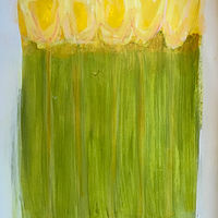 Acrylic painting Daffodils on Green by Sarah Trundle