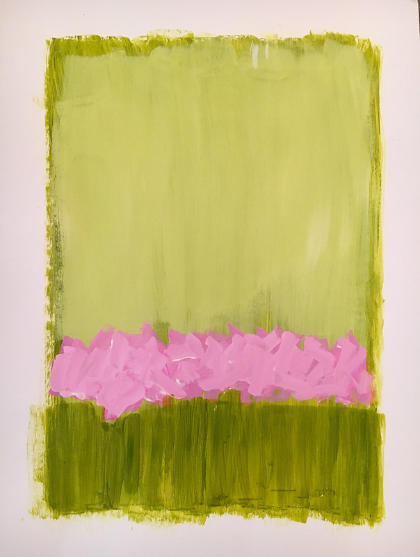 Acrylic painting Flower Study in Pink and Green by Sarah Trundle