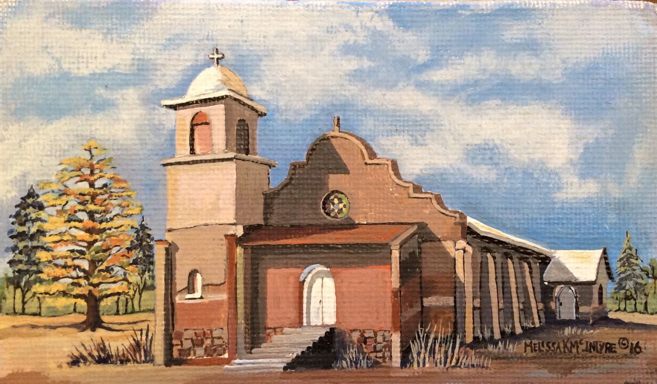 Acrylic painting Old Lamy Church by Melissa Kenyon Mcintyre