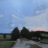 Acrylic painting Dusk, Home Gate, RESERVED FOR WELLES by Harry Stooshinoff
