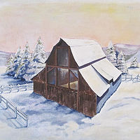 Acrylic painting Empty Barn by Melissa Kenyon Mcintyre