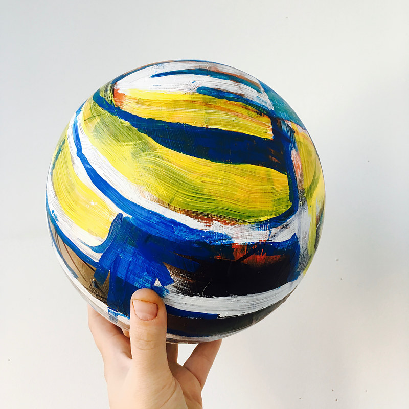 Bounce: View 2, Mixed Media on Rubber Ball, 2016 by Sara Kaltwasser