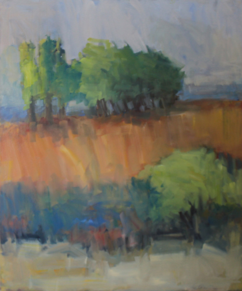 "Painting Oak Savanna, oil on canvas, 50"" x 42"" by Susan Horn"