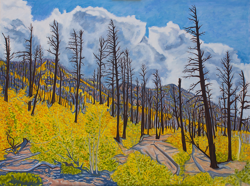 Oil painting After the Forest Burned by Crystal Dipietro