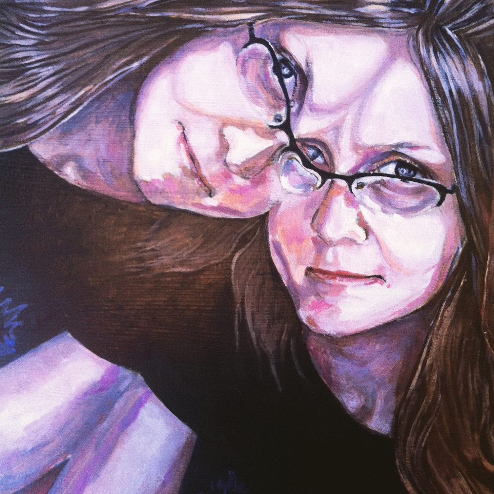Acrylic painting Kaleidoscopic Self Portrait (in process) by Amber Macgregor