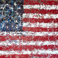 Acrylic painting freedom flag by Jeffrey Newman