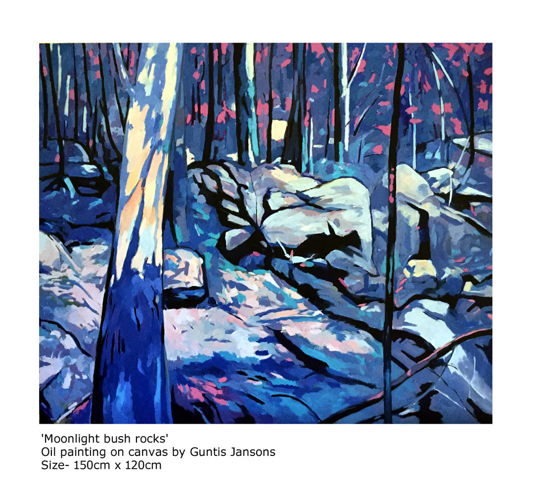 Oil painting Moonlight bush rocks  by Jodi Jansons