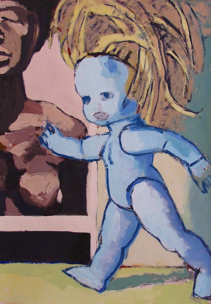 Acrylic painting Blue Doll (Naomi)  by Gary Jenkins