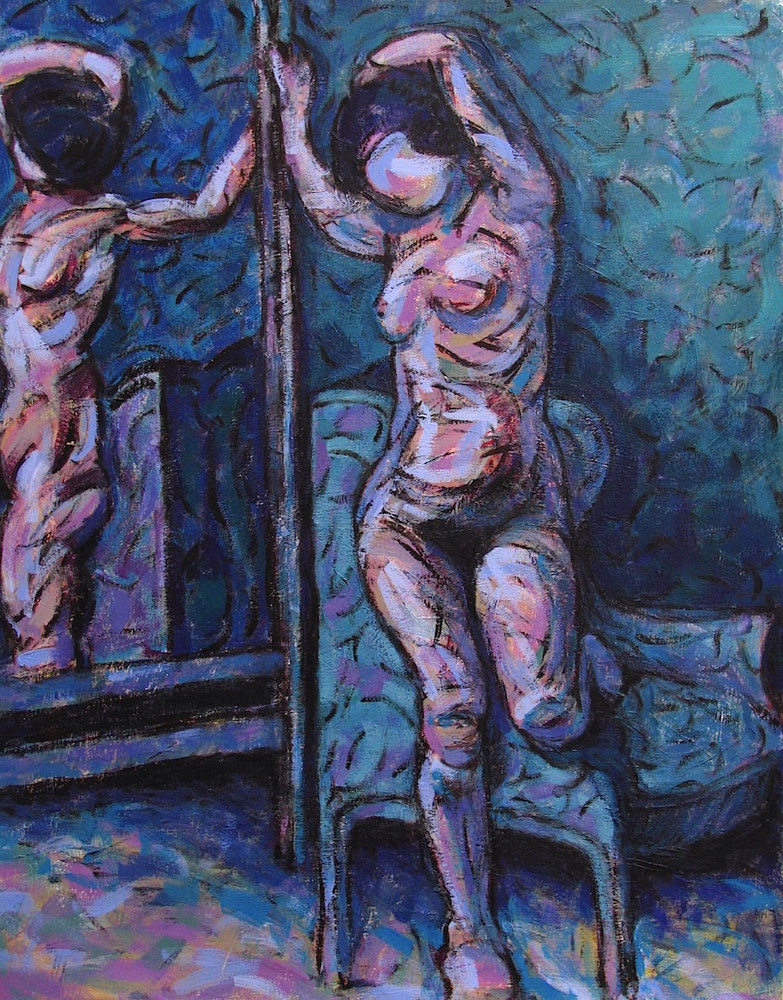 Acrylic painting Nude (Blue and Violet)  by Gary Jenkins