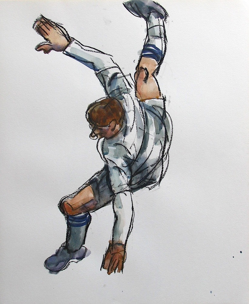 Watercolor Soccer Player (In Flight) by Gary Jenkins