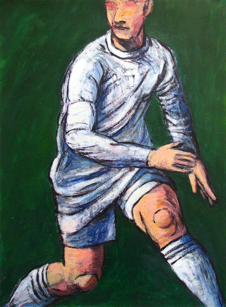 Acrylic painting Soccer Player in White  by Gary Jenkins