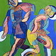 Acrylic painting Soccer Players (Abstracted)  by Gary Jenkins