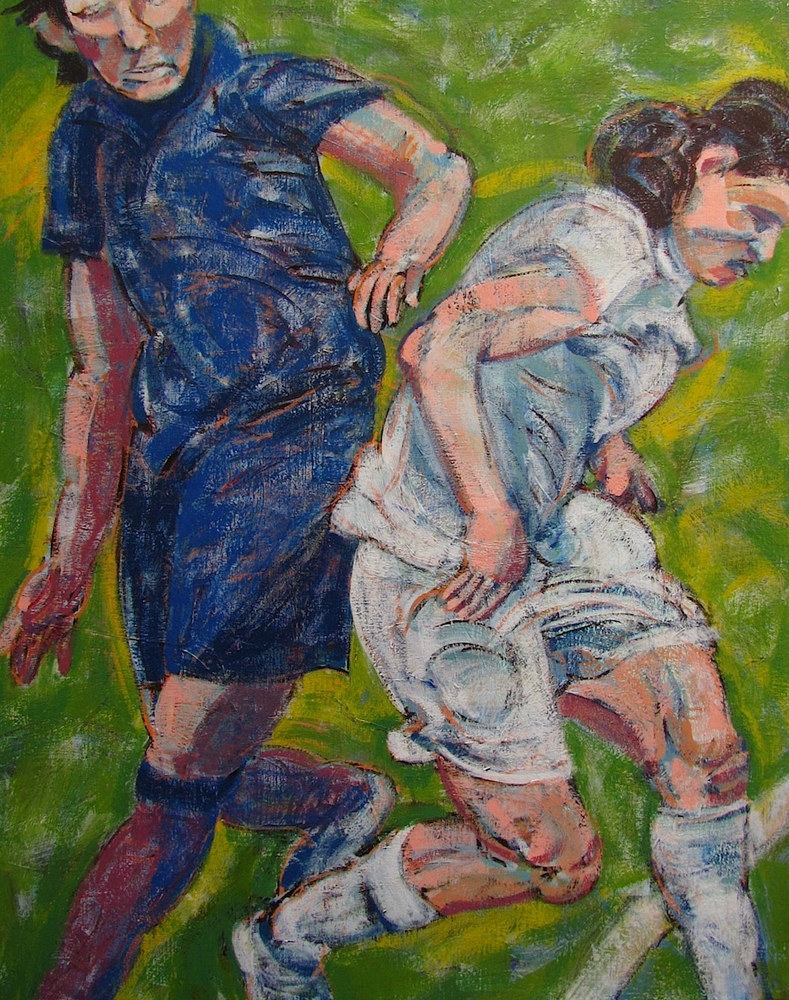 Acrylic painting Soccer Players (Blue and White)   by Gary Jenkins