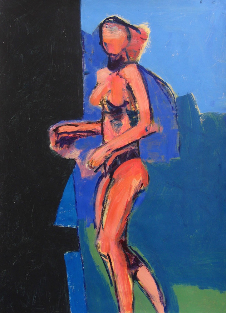 Acrylic painting Standing Nude (Into the Black)  by Gary Jenkins