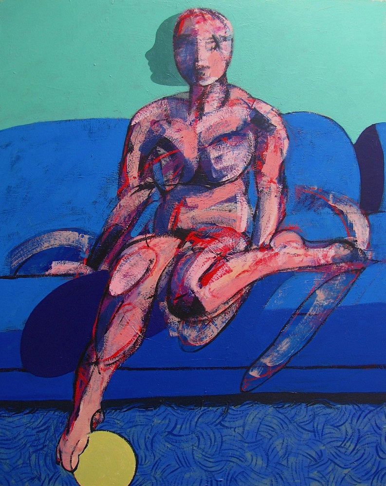Acrylic painting Study for Nude on Sofa   by Gary Jenkins
