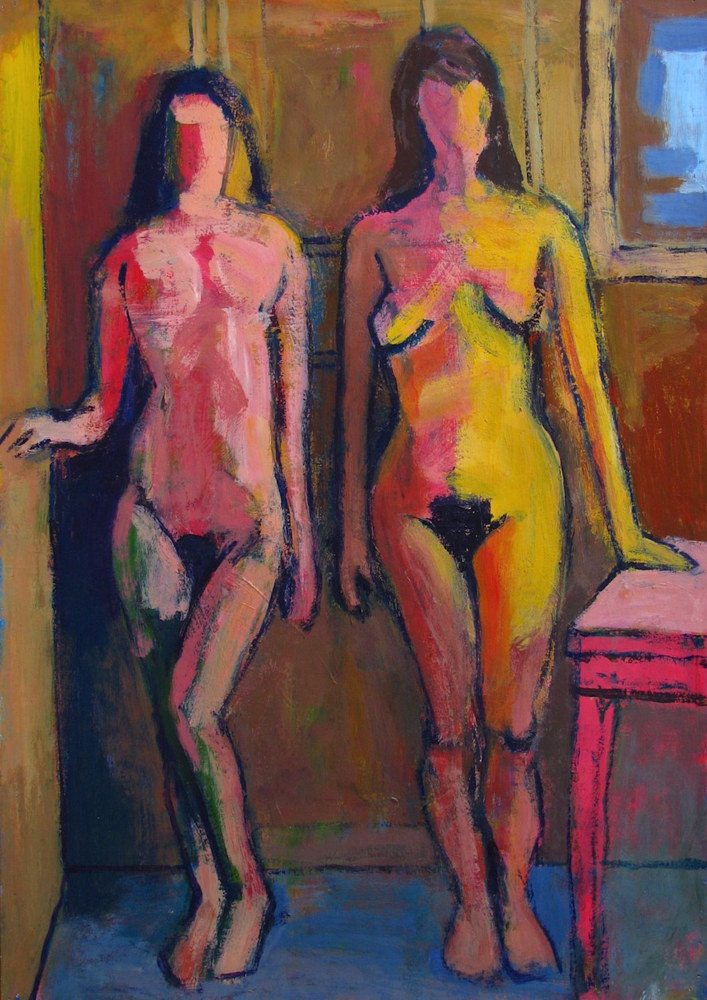 Acrylic painting Two Standing Nudes (Fauvist)  by Gary Jenkins