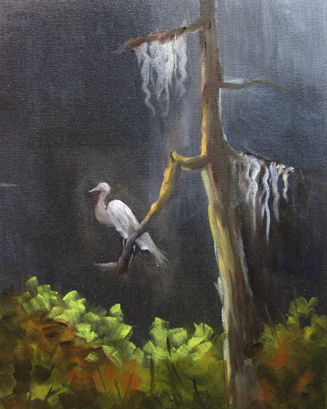 Painting Egret in Tree at Night by Barbara Haviland