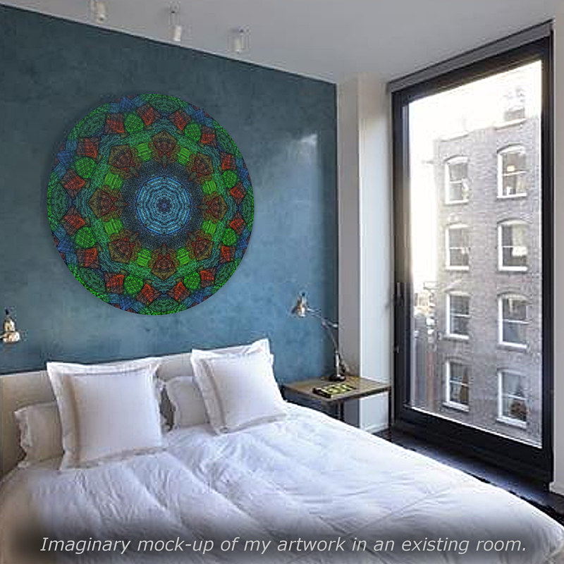 "Print Virtual Room - Mandala ""Aqua Glimmer"" by John Hovig"