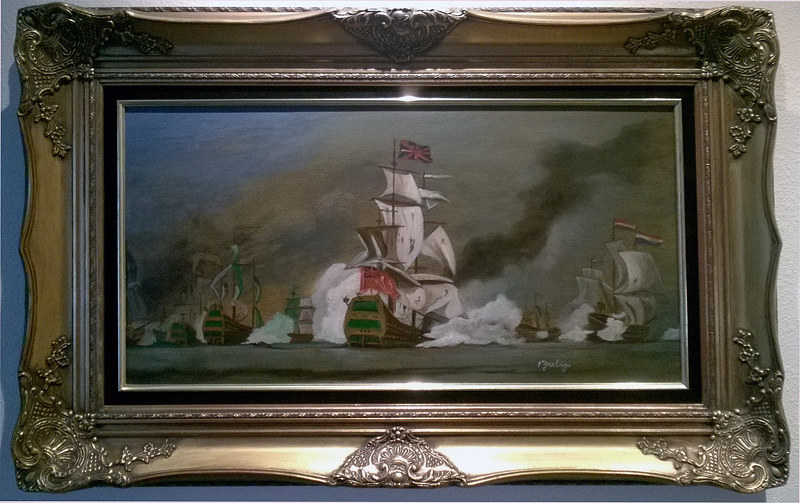 Oil painting Sea Battle English vs Dutch by Frans Geerlings
