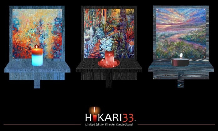 Hikari33 Candle lit artwork  by Linnie (Victoria) Aikens Lindsay