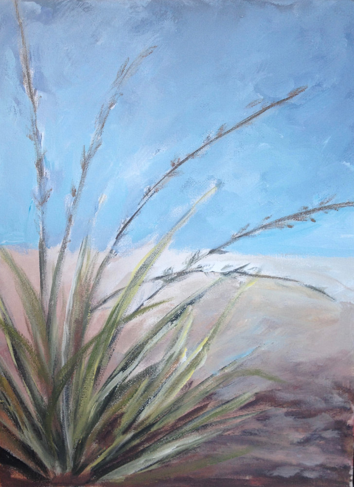 "Oil painting ""Red Yucca"" work in Progress by Linnie (Victoria) Aikens Lindsay"