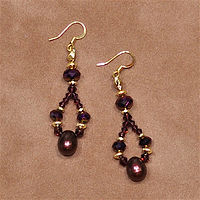 Chocolate Raspberry Pearls Earrings by Sue Ellen Brown