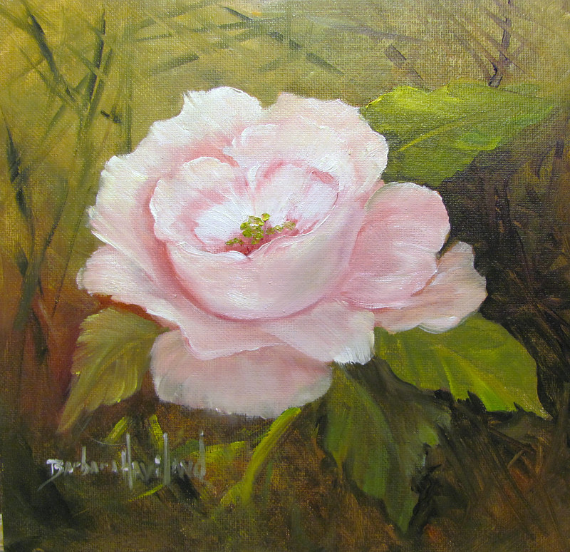 Oil painting  Pink Rose  by Barbara Haviland
