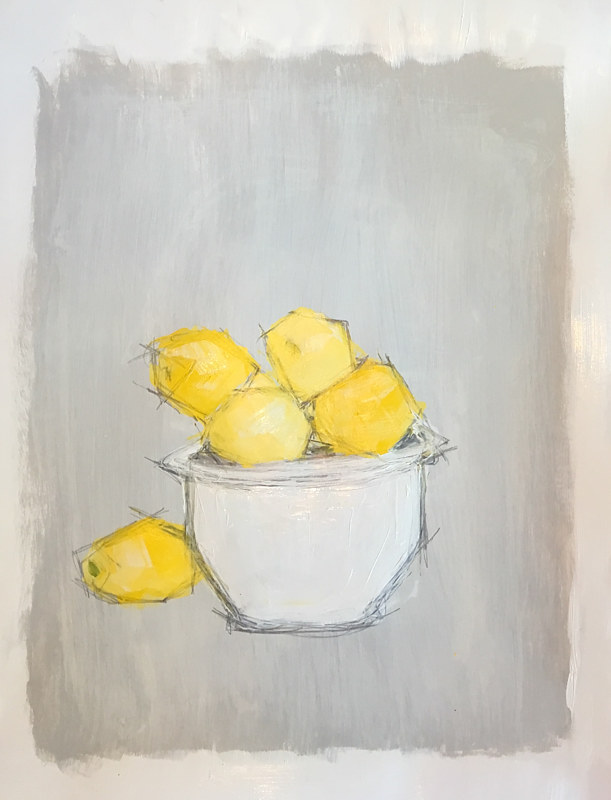 Acrylic painting Lemons by Sarah Trundle