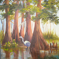 Oil painting Five Sisters and One Egret by Barbara Haviland