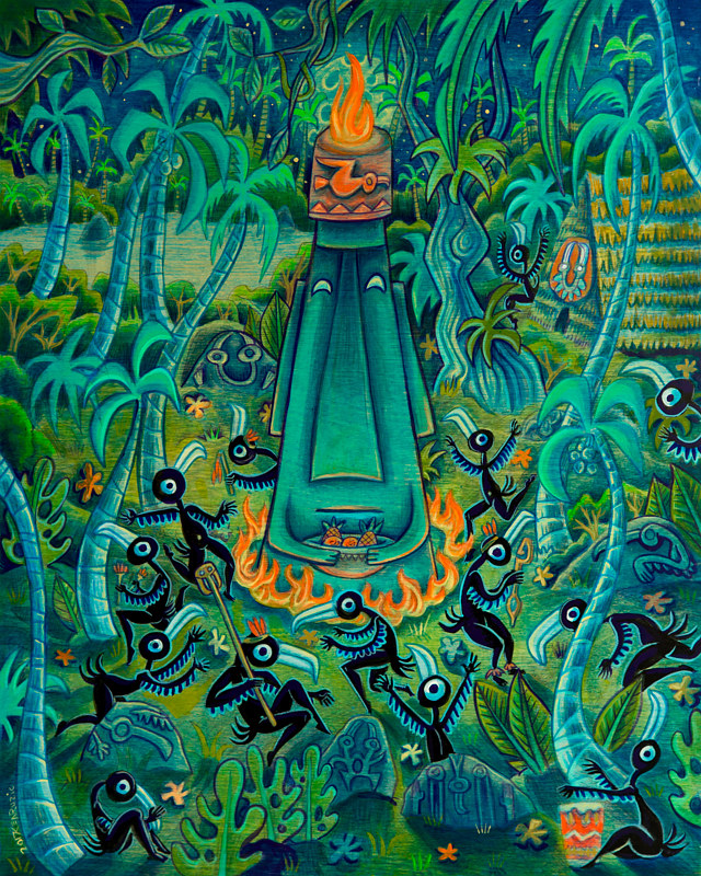 "Acrylic painting ""Adoration of the Moai"" by Kenneth M Ruzic"