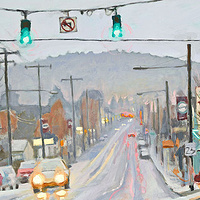 Oil painting Hawthorne Rain by Shawn Demarest