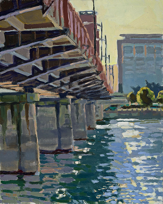 Oil painting Hawthorne Bridge, 7PM by Shawn Demarest