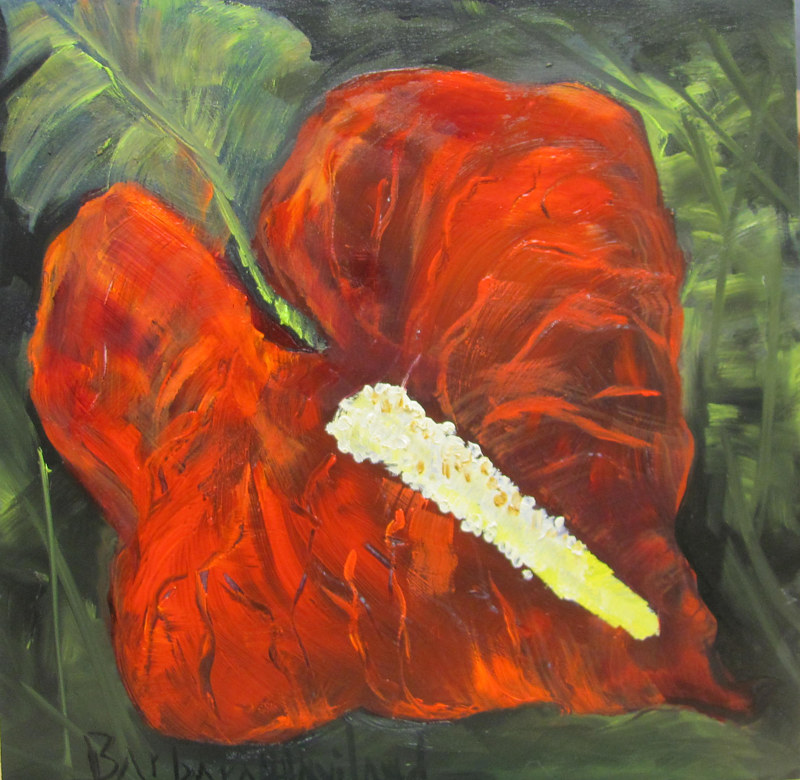 Oil painting  Anthirum Red by Barbara Haviland