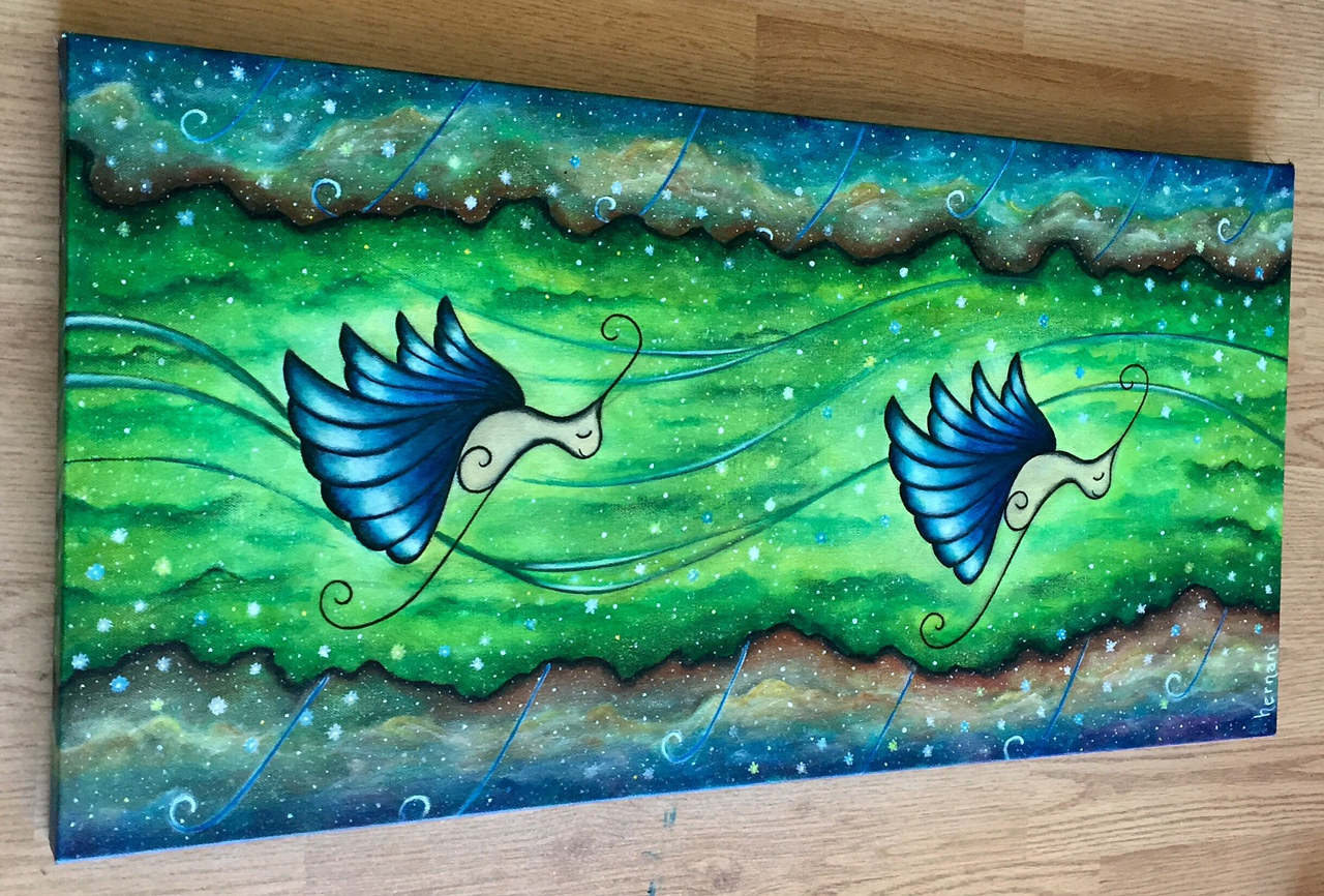 """Magical Butterflies"" Acrylic on canvas. 30x15"" by Bruno Hernani"