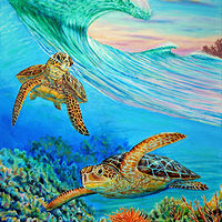Acrylic painting Honu's View  by Richard Ficker