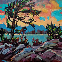 Sunset on the Lake  Acrylic 16x24 2017 by Brian  Buckrell