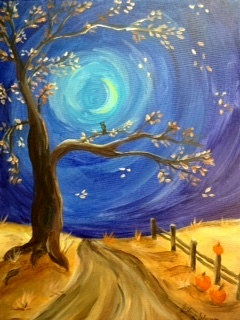 Acrylic painting Fall Moonlit Path by June Long-schuman